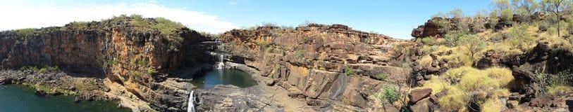 Fälle Panorma - Mitchell, Kimberley, West-Australien stockbild