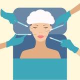 Fällige Frau über Weiß Auch im corel abgehobenen Betrag Lizenzfreies Stockfoto