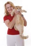 Fällige Frau und ihre Katze Lizenzfreies Stockbild