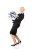 Fällige Funktion der Geschäftsfrau hart. stockfotos