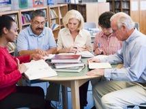 Fällige Kursteilnehmer, die in einer Bibliothek studieren Lizenzfreie Stockbilder