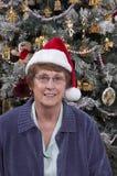 Fälliger älterer Frauen-Weihnachtsmann-Hut-Weihnachtsbaum Lizenzfreie Stockfotografie