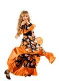 Fälliger blonder Frauentanz im Zigeunerkostüm Stockfotos
