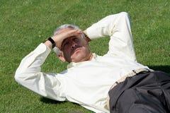 Fälliger Geschäftsmann auf Gras Stockfotos
