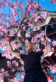 Fälliger Mannbeschneidungbaum Stockfoto