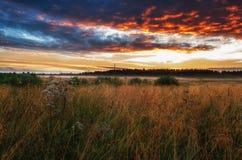 fält över solnedgång arkivfoto