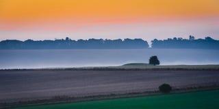 fält över soluppgång Fotografering för Bildbyråer