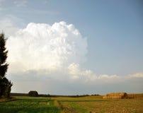 fält över thunderclouden Arkivfoto