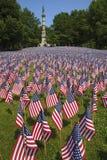 Fält av flaggor på gemensamma Boston Arkivbilder