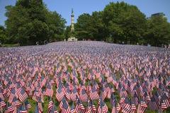Fält av flaggor på gemensamma Boston Royaltyfria Foton
