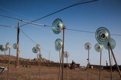 Fält av glass objekt arkivfoto