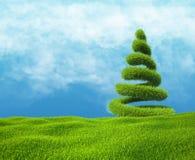 Fält av grönt gräs och himmel med spiralträdet Royaltyfria Foton