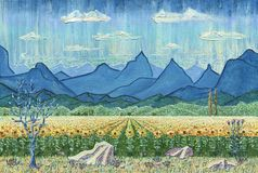 Fält av solrosor och berg royaltyfri illustrationer