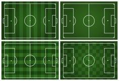 fält för fotboll 4 med vita linjer på gräs Arkivbilder