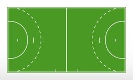 Fält för handboll Översikt av linjer handbollfält Grönt fält för handboll stock illustrationer
