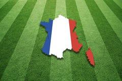 Fält för socccer för Frankrike översiktsflagga Royaltyfri Bild