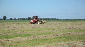 Fält för traktorted hö arkivfilmer