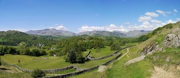 Fält med avlägsna kullar bakom, panorama- Arkivfoton