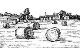 Fält med höstackar royaltyfri illustrationer