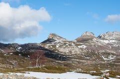 Fält och berg som täckas vid den insnöade vintern Arkivfoto