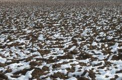 fält plöjd snow Arkivbilder