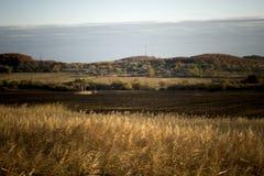 Fält Ryssland - jordbruks- landskap för sommar Arkivfoton