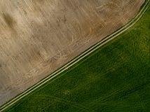 Fältbakgrund - sikt från över arkivfoton