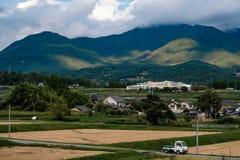 Fältet, når havesting på Oktober i Japan royaltyfri bild