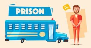 Fängelse med fången Teckendesign den främmande tecknad filmkatten flyr illustrationtakvektorn Royaltyfri Foto