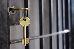 Fängelsetangent i ett järndörrgaller arkivfoton