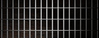 Fängsla arreststänger på mörk bakgrund för tegelstenväggen, baner illustration 3d stock illustrationer