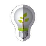 färben Sie Aufkleberschattenbild mit Birnenlicht und -anlage mit Stamm und Blättern lizenzfreie abbildung