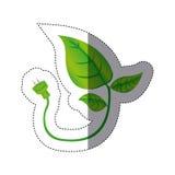 färben Sie Aufkleberschattenbild mit Blättern und Stamm mit Netzstecker lizenzfreie abbildung