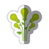 färben Sie Aufkleberschattenbild mit Satz Birnenlicht mit Stamm und Blättern lizenzfreie abbildung