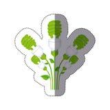 färben Sie Aufkleberschattenbild mit Satz der gewundenen Leuchtstofflampe mit Stamm und Blättern stock abbildung