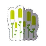 färben Sie Aufkleberschattenbild mit Satz der Leuchtstofflampe mit Stamm und Blättern stock abbildung