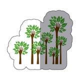 färben Sie Bäume mit Stamm in der Formhandikone lizenzfreie abbildung