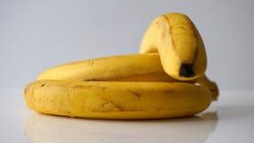 Färben Sie Bananen auf weißem Hintergrund gelb Lizenzfreie Stockfotos