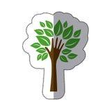 färben Sie Baum mit Blättern und Stamm in der Formhand lizenzfreie abbildung
