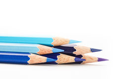 Färben Sie Bleistift auf einem Weißbuch für Hintergrund, Rahmen Stockbild