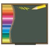 Färben Sie Bleistift Vektorillustration auf einem Tafelhintergrund Stockbilder