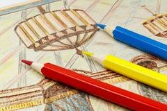 Färben Sie Bleistifte auf dem Hintergrund des Bildes Stockfotografie