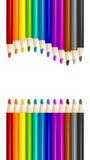 Färben Sie Bleistifte vereinbaren herein in der Farbreihe auf weißem Hintergrund Stockbilder