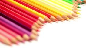 Färben Sie Bleistifte, Verlegung mit der kleinen Tiefe von stock footage
