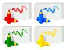 Färben Sie Bleistifte Zubehör zum Zeichnen vektor abbildung