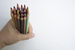 Färben Sie bunten Bleistifthintergrund Hand Stockfoto