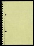 Färben Sie das quadrierte Papier gelb, das aus einer Ringmappe heraus zerrissen wird Stockfotografie