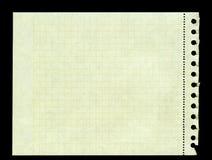 Färben Sie das quadrierte Papier gelb, das aus einer Ringmappe heraus zerrissen wird Stockbilder