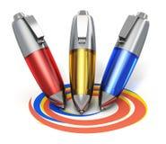 Färben Sie die Stifte, die coloful Formen zeichnen Lizenzfreies Stockbild