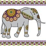 Färben Sie Elefanten mit Grenzelementen in ethnischer mehndi Art Vektorschwarzweißabbildung lokalisiert Stockfoto
